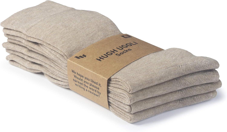 Light Grey HUGH UGOLI Womens Cotton Business Casual Dress Socks Shoe size: 9-12 4 Pairs