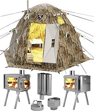 Tienda de campaña de invierno con tubo de ventilación para estufa, diseño de oso ruso Tienda