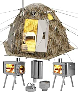 Russian-Bear Hot Tent Wood Burning Stove - Yurt Tents with Stoves Pipe Vent Hole Jack for All 4 Season Arctic Expedition Camp Outfitter Hunting Ice Fishing Winter Camping Cold Weather