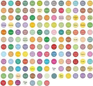 Revive Essential Oil Bottle Cap Labels - 3 Sheets, 450-Pack Color Coded, Round, Preprinted Roller Bottle Lid Stickers For DIY Storing, Sampling, Organizing Waterproof, Weatherproof + Tear Resistant