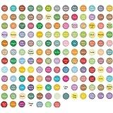 Revive Essential Oil Bottle Cap Labels- 3 Sheets, 450-Pack- Color Coded, Round, Preprinted Roller Bottle Lid Stickers…
