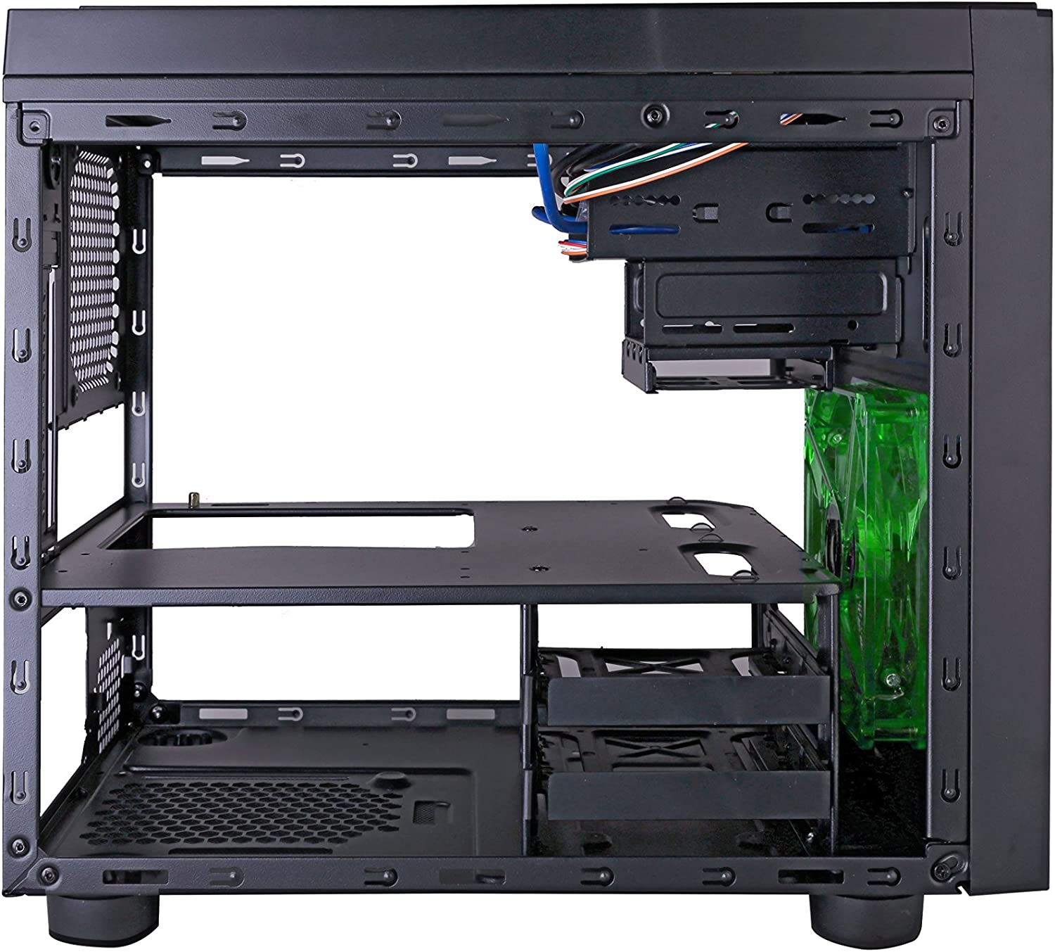 USB3.0//USB2.0//HD Audio Ports APEVIA X-QPACK3-GN Micro ATX Cube Gaming//HTPC Case Green Dust Filter 2xGreen Windows Flip Open Design Supports Video Card up to 320mm//ATX PS 1 x 140mm Green LED fan