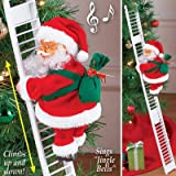Electric Santa Climbing Ladder to Tree, Climbing Up and Down Santa Claus on Ladder with Music and Bag of Presents Tree…