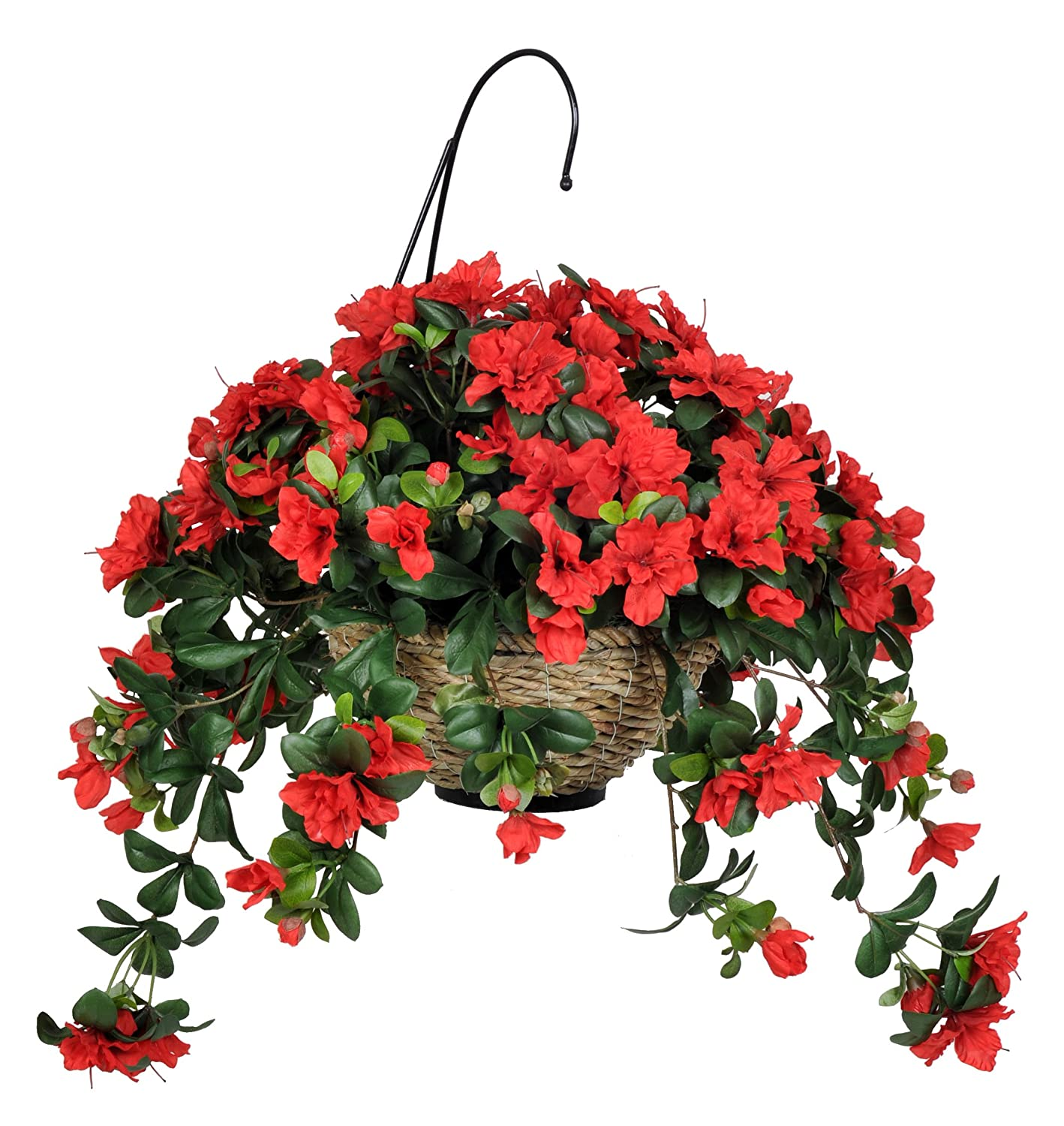 Amazon house of silk flowers artificial red azalea hanging amazon house of silk flowers artificial red azalea hanging basket home kitchen mightylinksfo