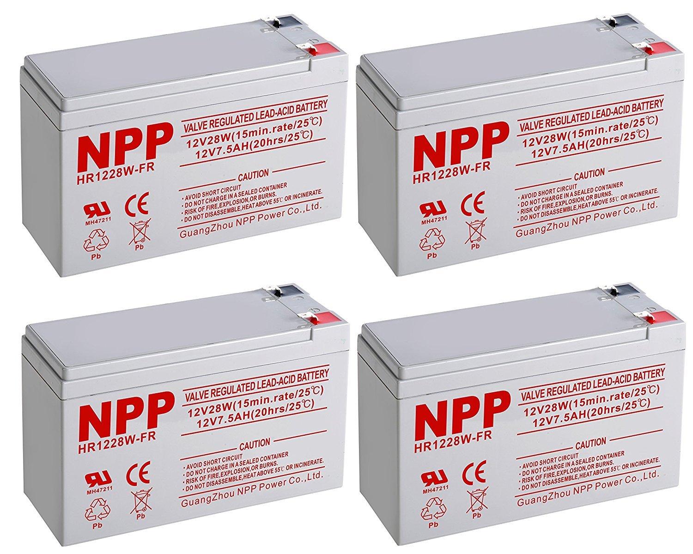 NPPower HR12V 28W High Rate SLA 12V 7.5Ah Battery F2 Style Terminals/(4pcs)