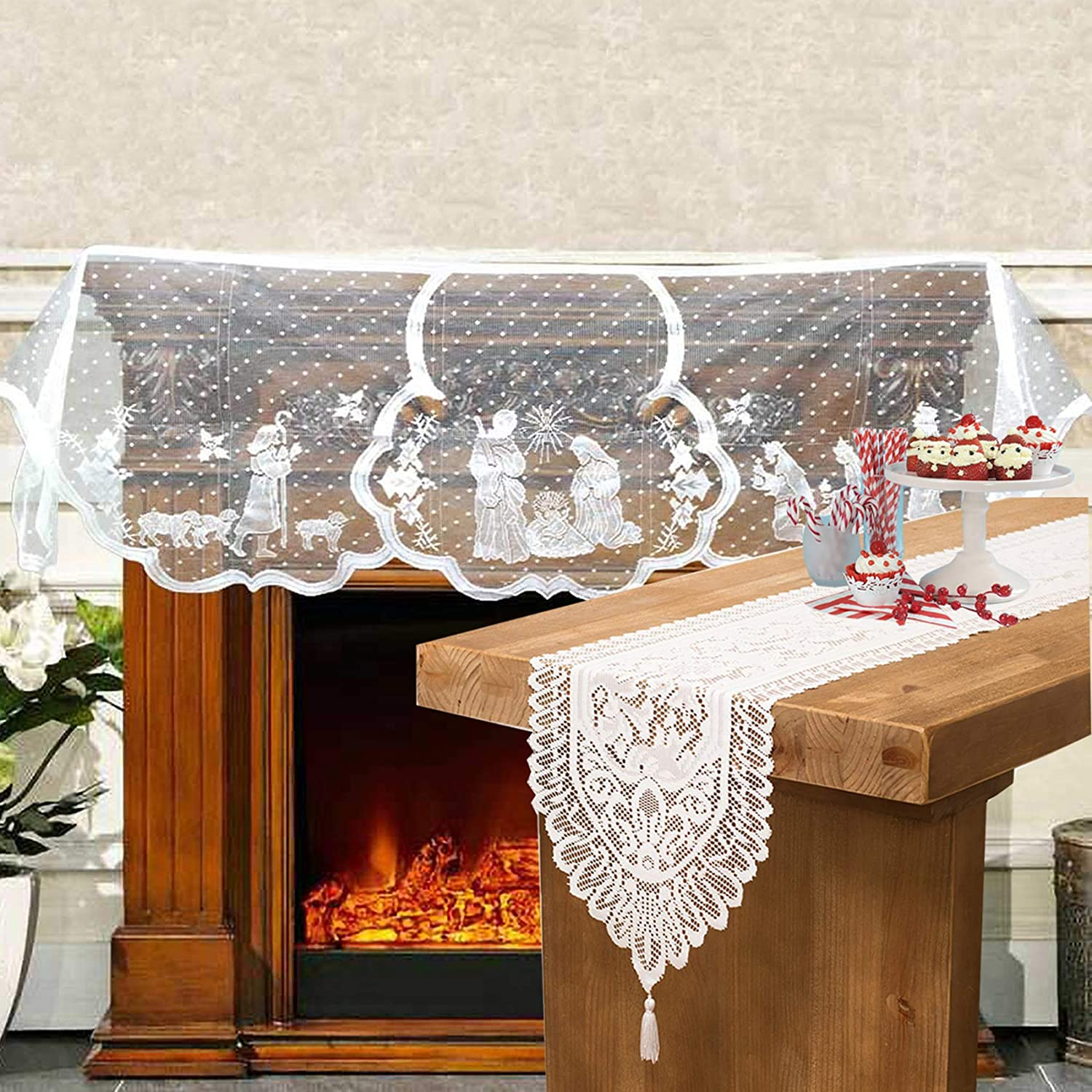 Acronde 20 x 90 inch Christmas Decor Fireplace Scarf and 13 x 71 inch Christmas Lace Table Runner White Lace Jesus Christmas Decorations Furniture Living Room Decoration (White)