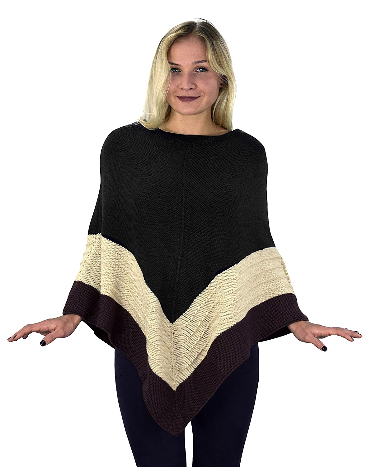 Peach Couture Women's Light Trendy Ruffle Batwing with Fringe Shawl Wrap Poncho Black/Taupe)