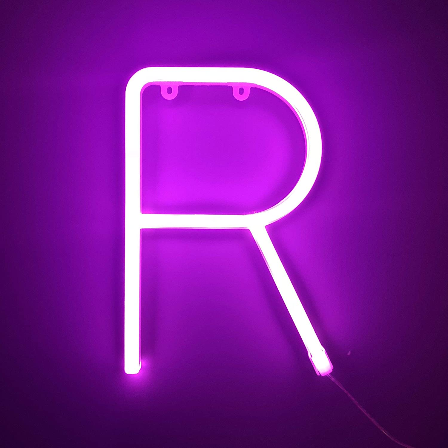 Smiling Faces Neon Alphabet Pink Letter R LED Personalised Sign