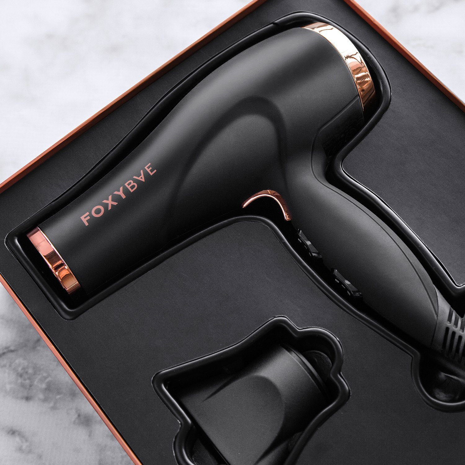 Amazon.com: FoxyBae Blomance Professional Hair Dryer - Salon Grade Rose Gold and Black Ionic Blow Dryer - Ceramic Tourmaline and Negative Ion - Best Hair ...