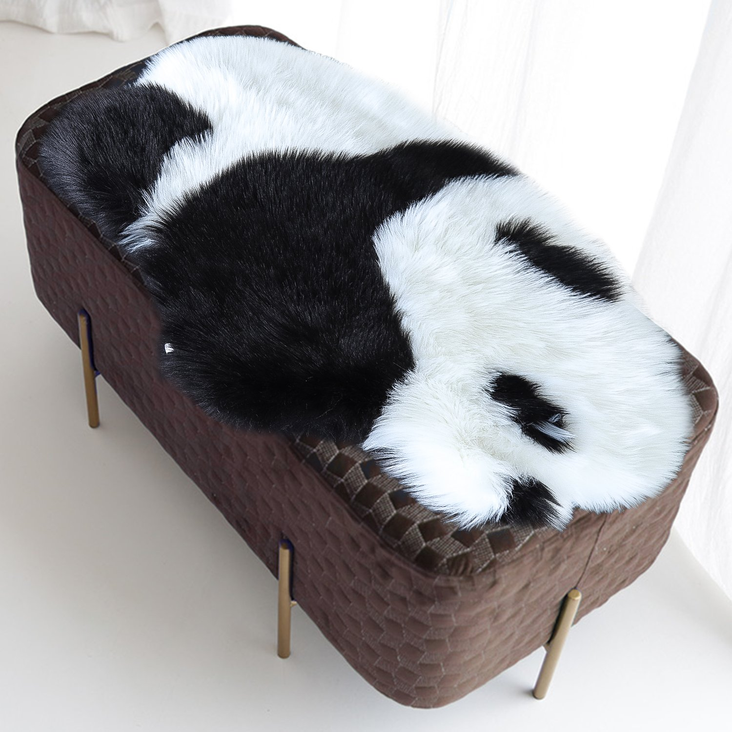 Noahas Faux Fur Sheepskin Silky Seat Cushion, Home Decor Long Wool Area Rugs Carpet, Soft Fluffy Plush Chair Seat Pads Universal Fit for Home Office Restaurant Chair (2x3 Feet, Style-4)
