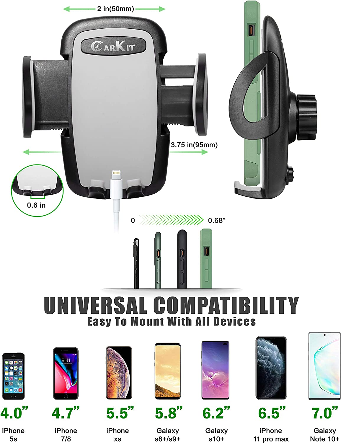 CarKit 2-in-1 CD Phone Holder for Car /& Air Vent Phone Holder /& Bonus USB Car Charger 7 Samsung Galaxy S10 Universal Car Phone Mount for iPhone 11 Pro Max Xs Xr 8 S8 S7 /& other Cell Phones S10 S9
