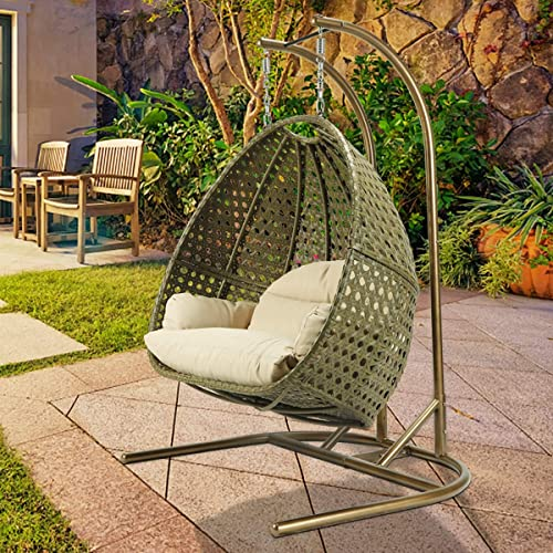 Best Hanging Egg Chair-Luxurious Egg Chair Double Seats Hanging Egg Chair Swing Hammock Chair with Stand