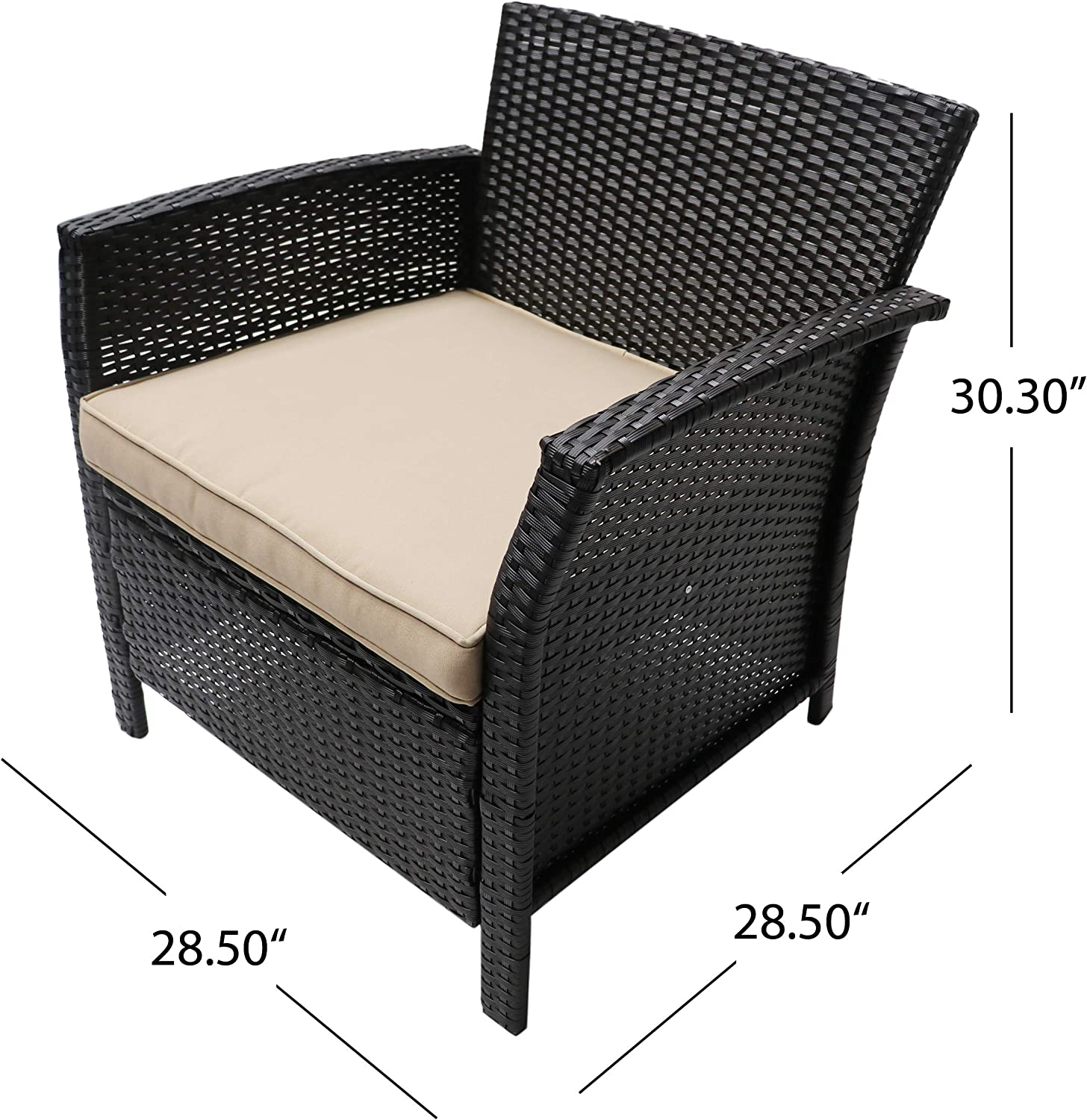 Set of 2 Brown and Tan Christopher Knight Home 305346 Tori Outdoor Wicker Club Chairs