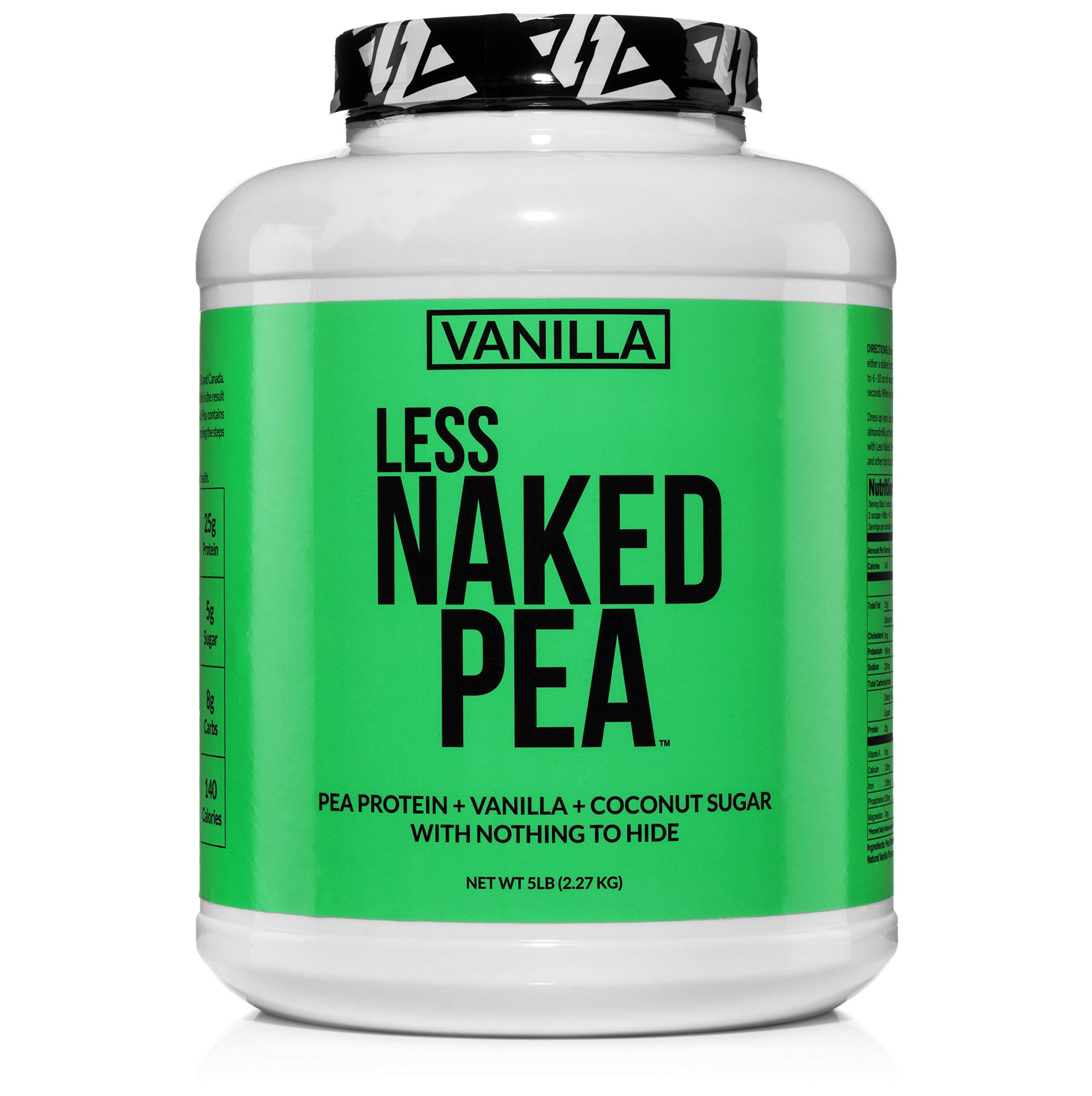 LESS NAKED PEA - VANILLA PEA PROTEIN - Pea Protein Isolate from North American Farms - 5lb Bulk, Plant Based, Vegetarian & Vegan Protein. Easy to Digest, Non-GMO, Gluten Free, Lactose Free, Soy Free by NAKED nutrition