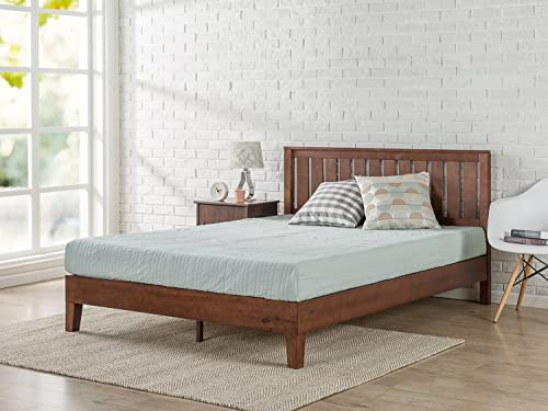 Zinus 12 Inch Deluxe Solid Wood Platform Bed with Headboard No Box Spring Needed Wood Slat Support Antique Espresso Finish, King
