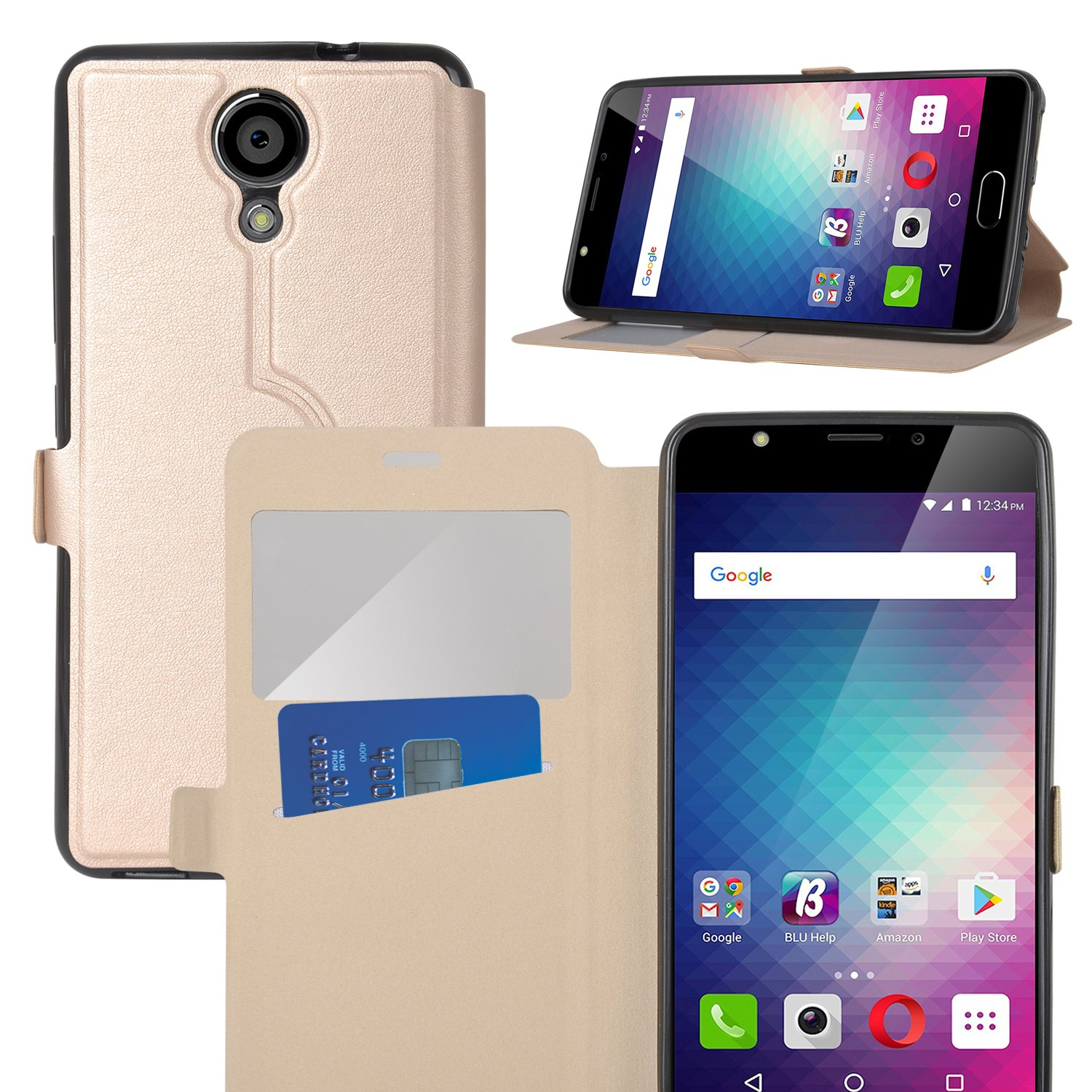 check out 60791 ae61d BLU Life ONE X2 case,KuGi BLU Life ONE X2 case Ultra-Thin SCW Style PU  Cover + TPU Back Stand Case for BLU Life ONE X2 Smartphone(Gold)