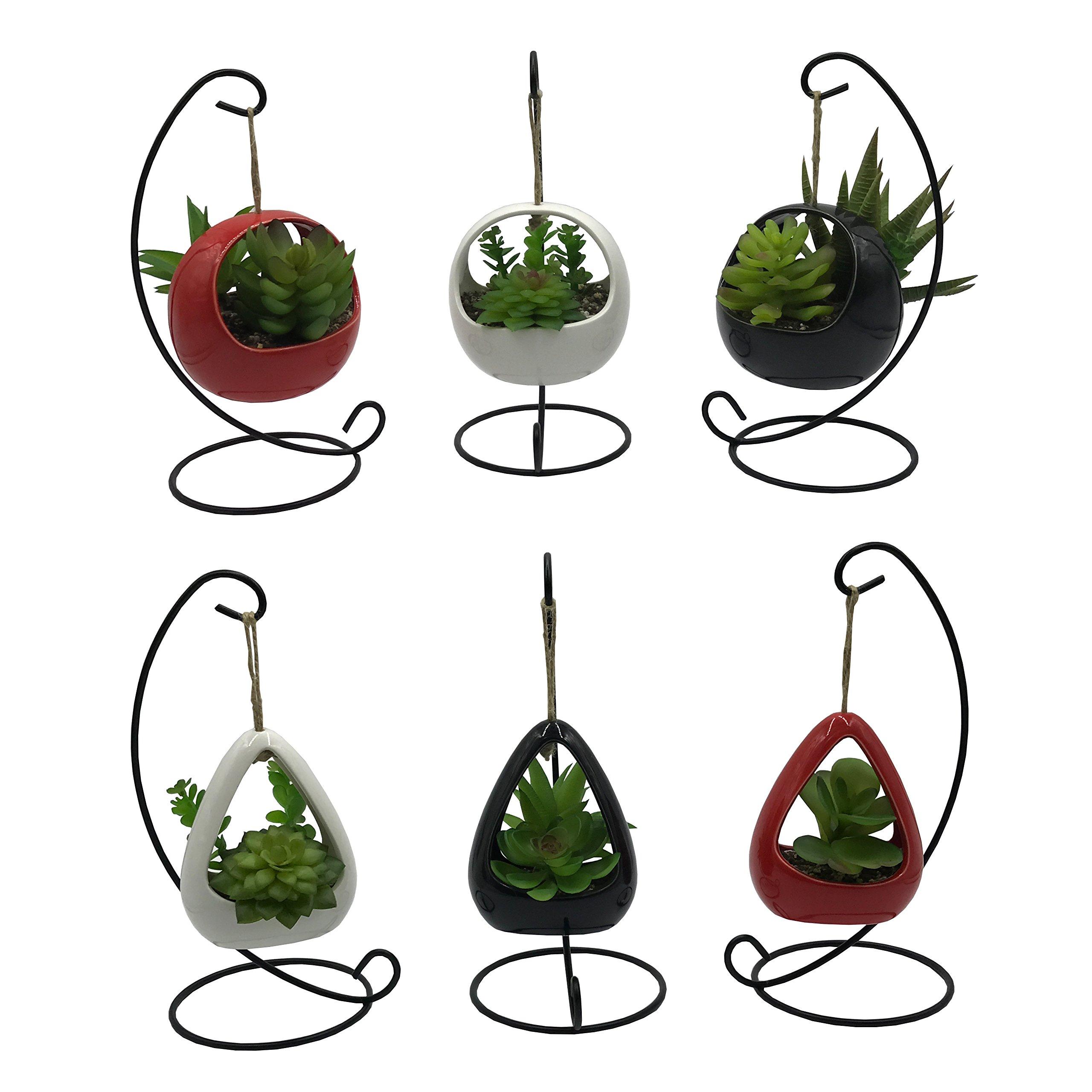 6 PCS Set Cute Coloful Ceramic Succulent Cactus Flower Pot Hanging Planter for Home Garden Office Desktop Decoration (Plants Not Included)