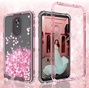 LG Stylo 4 Case, LG Stylo 4 Plus Case, LG Q Stylus Case,Hard Clear Glitter Sparkle Flowing Liquid Heavy Duty Shockproof Three Layer Protective Bling Cases for LG Stylo4/LG Stylo4 Plus - Pink