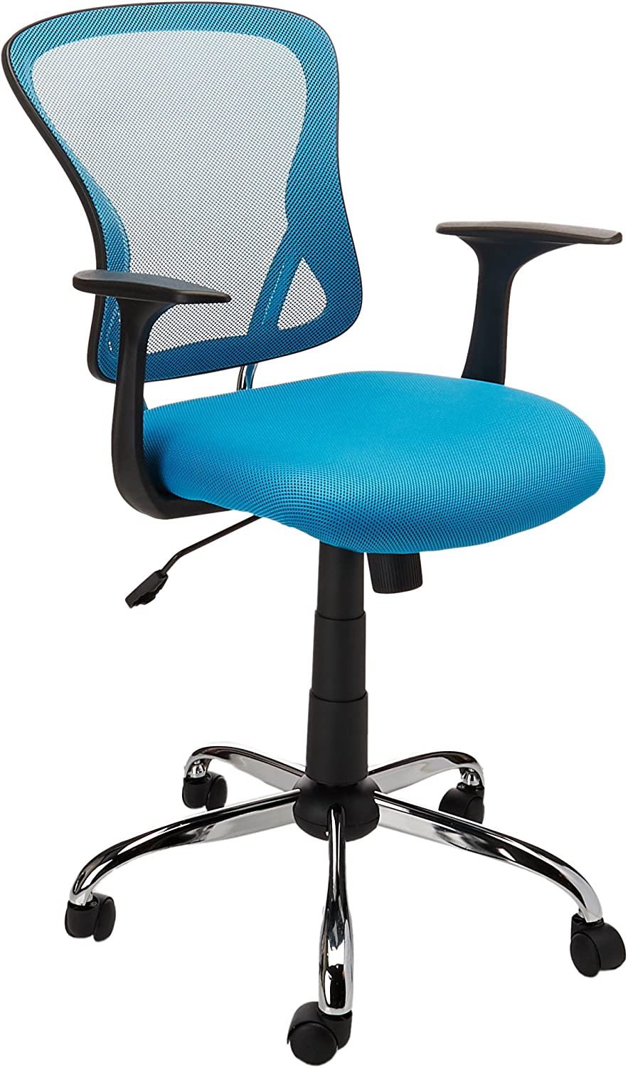 Flash Furniture Mid-Back Blue Mesh Swivel Task Chair with Chrome Base and Arms