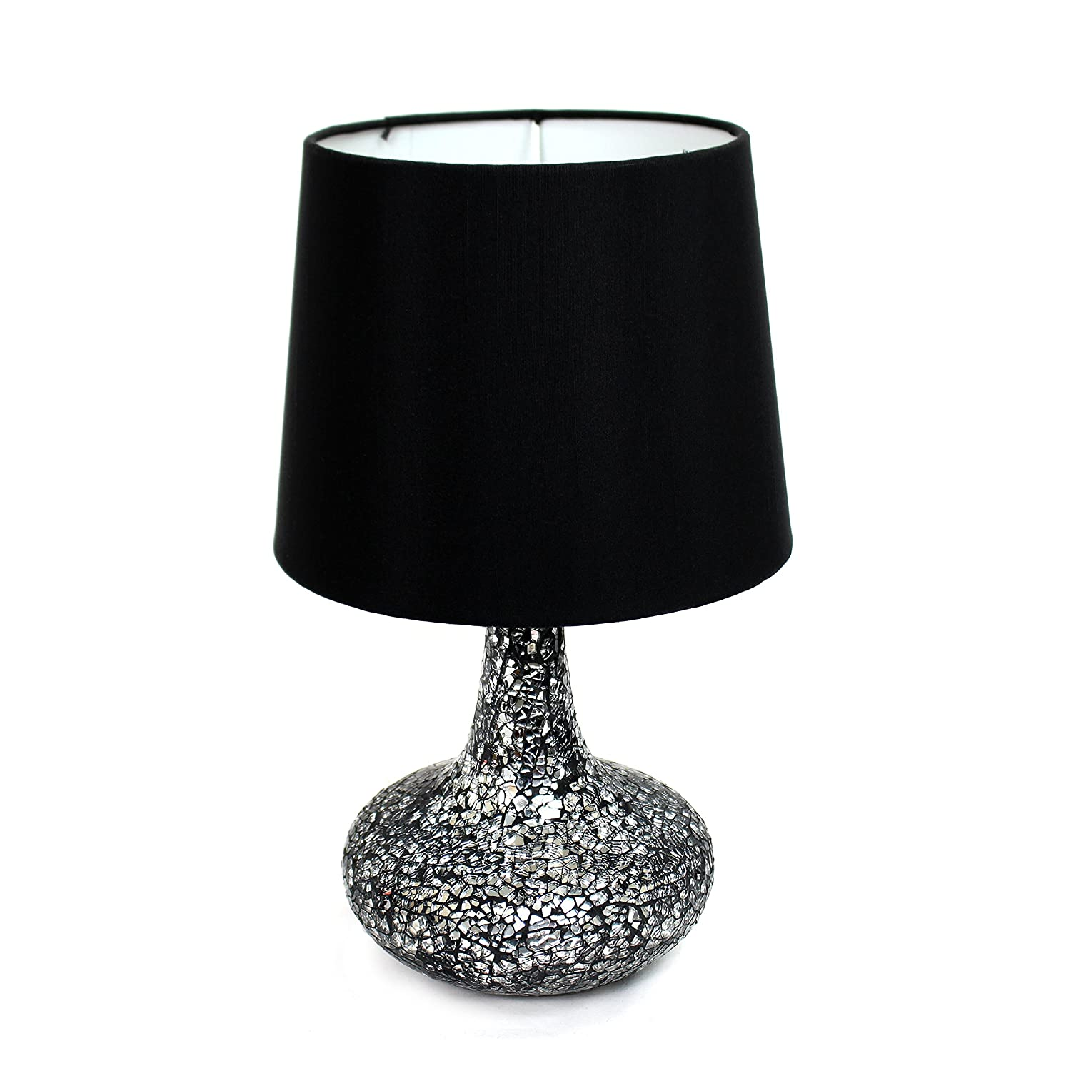 simple designs lt3039blk mosaic tiled glass genie table lamp with satin look fabric shade black crystal lamp amazoncom - Table Lamps Target