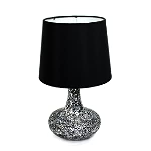 "Simple Designs Home LT3039-BLK Mosaic Tiled Glass Genie Table Lamp with Satin Look Fabric Shade, 14.17"" x 8.27"" x 8.27"", Black"