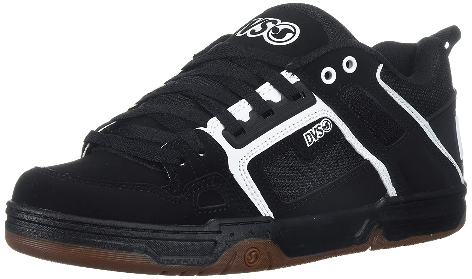 DVS Men's Comanche Skate Shoe 10.5 M US|Black/White Gum Nubuck