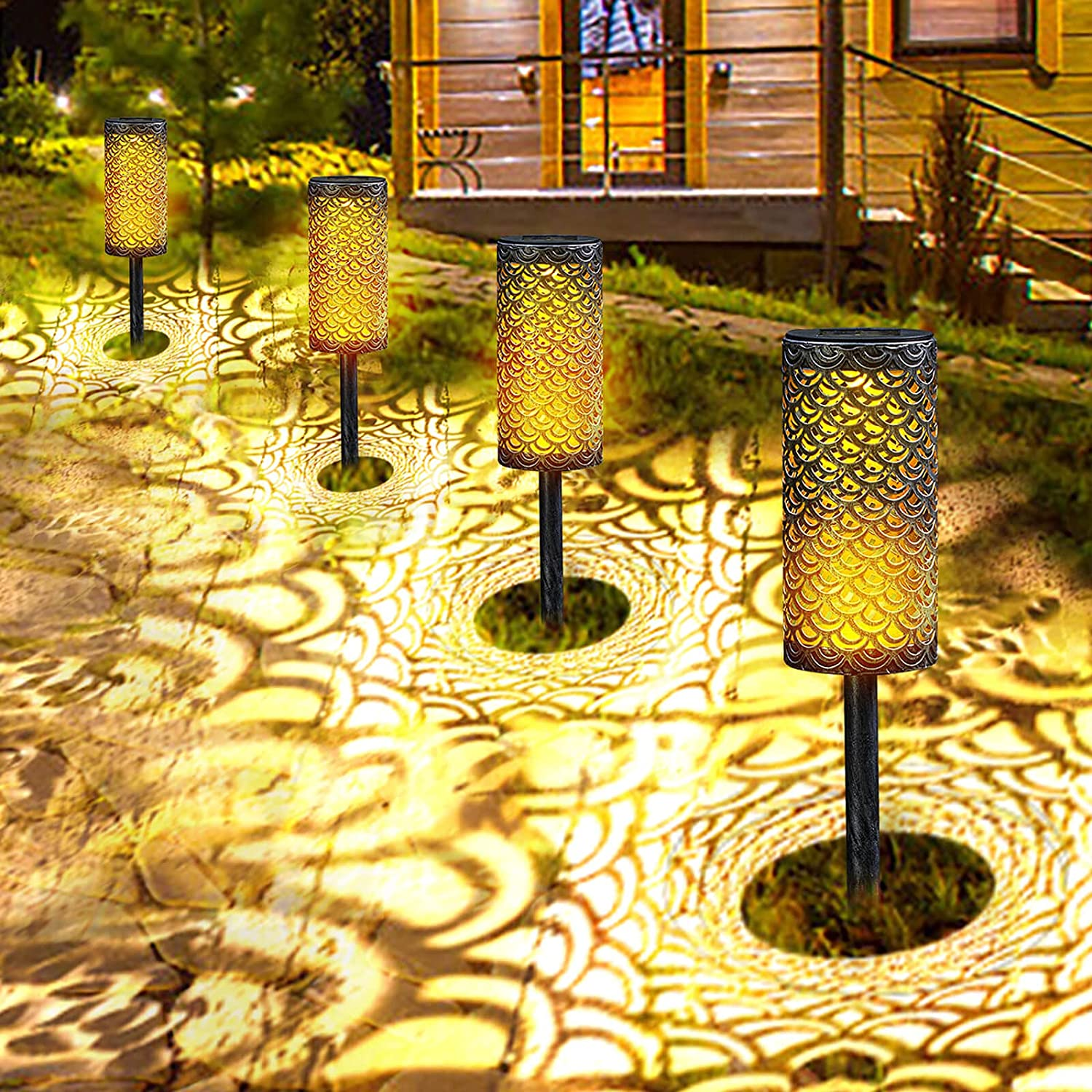 Solar Pathway Garden Lights Metal - Outdoor Decorative Path Light, Waterproof LED Auto On/Off Landscape Lighting for Lawn, Yard, Patio, Walkway (4 Pack)