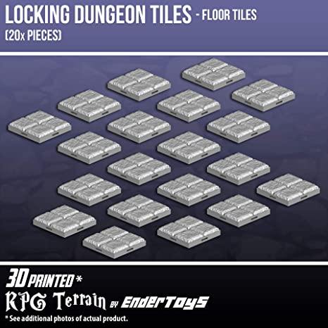 image about 3d Printable Dungeon Tiles known as Locking Dungeon Tiles - Surface area Tiles (20x Sections), Terrain Surroundings Tabletop 28mm Miniatures Job Taking part in Sport, 3D Published Paintable, EnderToys