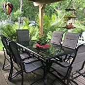 127308bff7a Amazon.com  Statesville 7-Piece Padded Sling Patio Dining Set  Home ...