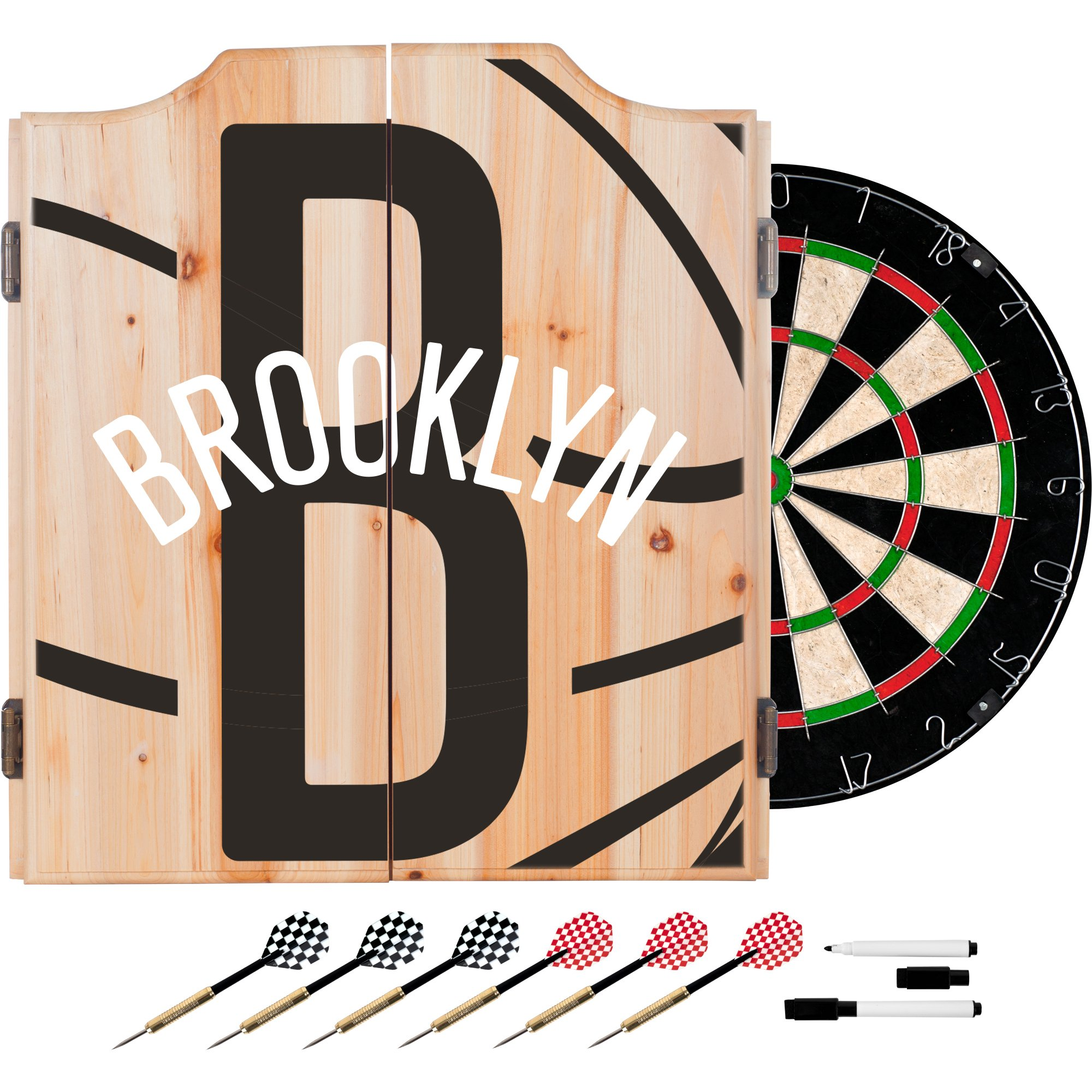 Trademark Gameroom NBA7010-BN2 NBA Dart Cabinet Set with Darts & Board - Fade - Brooklyn Nets