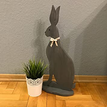 Reneefer | Holz Dekoration Ostern XXL Sitzender Grauer Osterhase 60 Cm Deko  Frühling Figur Groß Hase