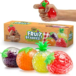 YoYa Toys Beadeez Squishy Fruit Stress Balls Toy (4-Pack) Tropical Designs Filled with Colorful, Squeezable Gel Water Beads - Promote Stress Relief, Calm Focus, Fun Play - Girls, Boys, Adults