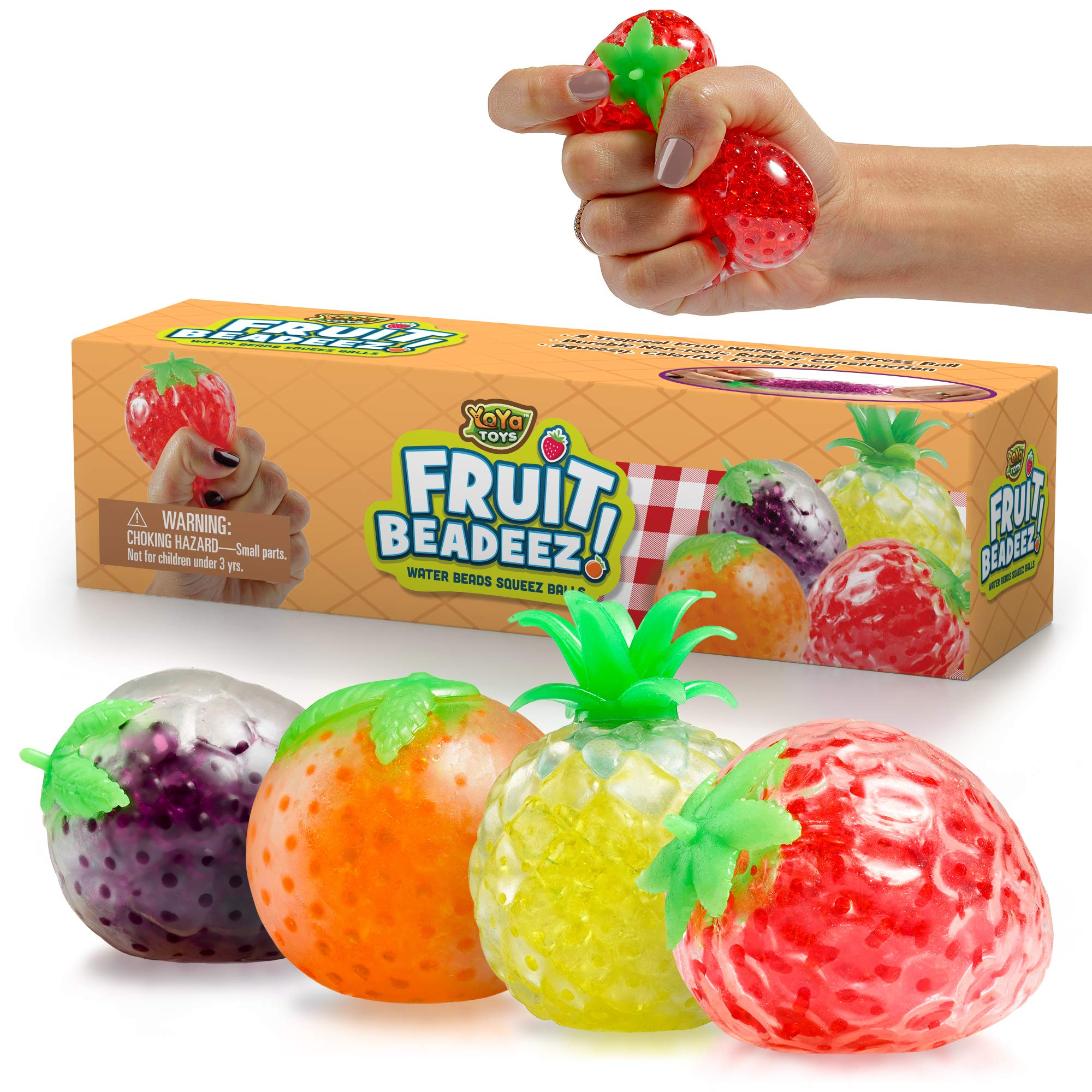 Beadeez! Squishy Fruit Stress Ball Toys (4-Pack) Tropical Designs Filled w/ Colorful, Squeezable Gel Water Beads | Promote Stress Relief, Calm Focus, Fun Play | Girls, Boys, Adults