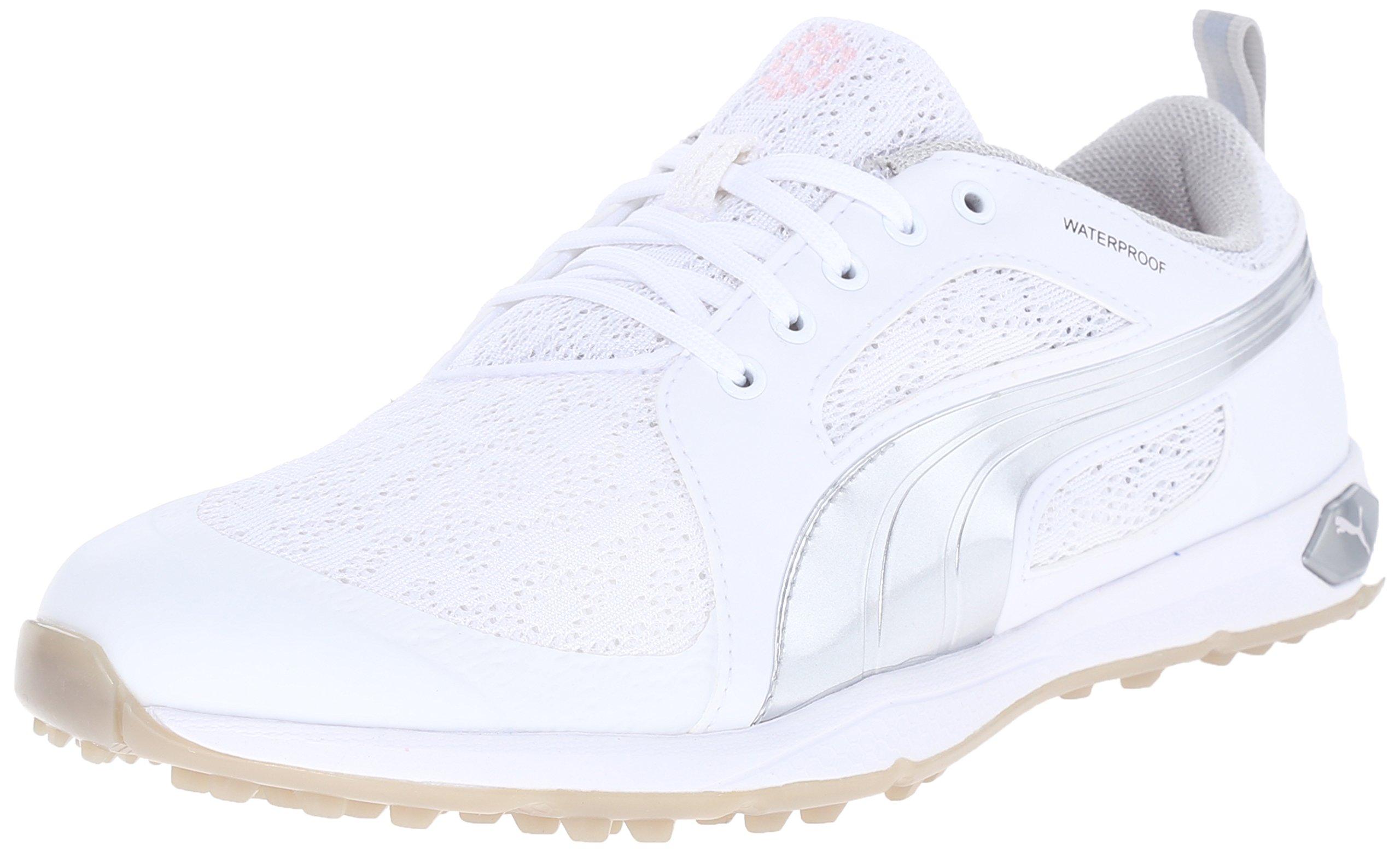 500989015a2ff2 Galleon - PUMA Women s Biofly Mesh WMNS Golf Shoe White Silver
