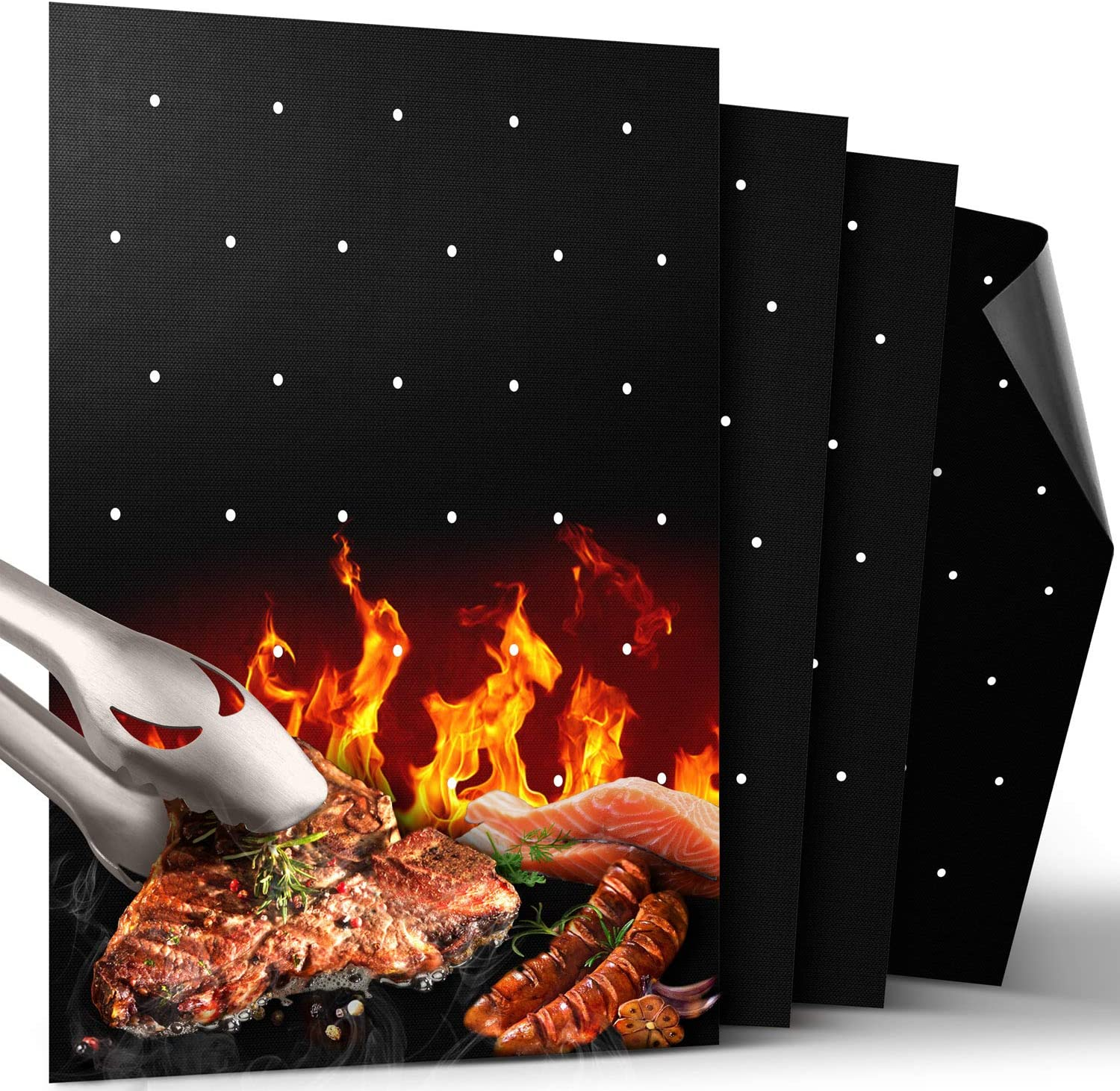 GRILLART BBQ Grill Mat, Non Stick BBQ Mat with Holes Heavy Duty 500 Degree Grill & Baking Mats (Set of 4), Easy Clean & Use BBQ Accessories, Reusable on Gas Charcoal Electric Grills: Garden & Outdoor