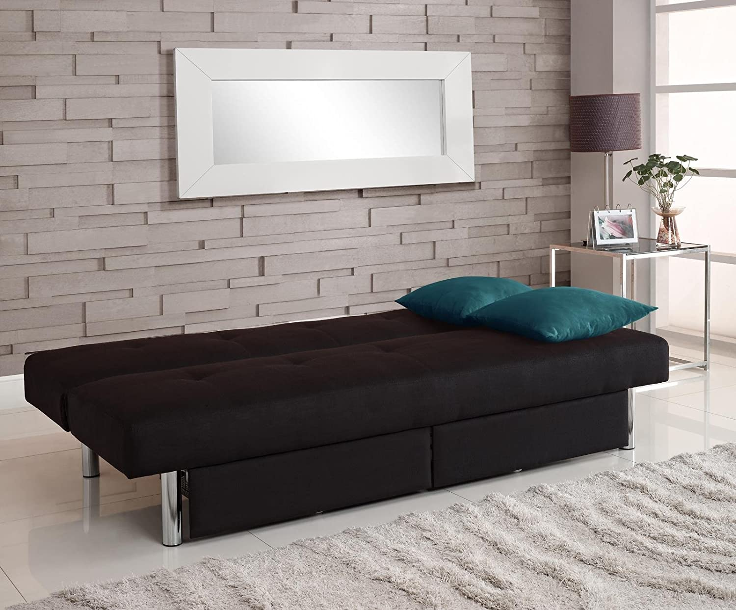 DHP Sola Convertible Sofa with Storage in Black Amazonca Home