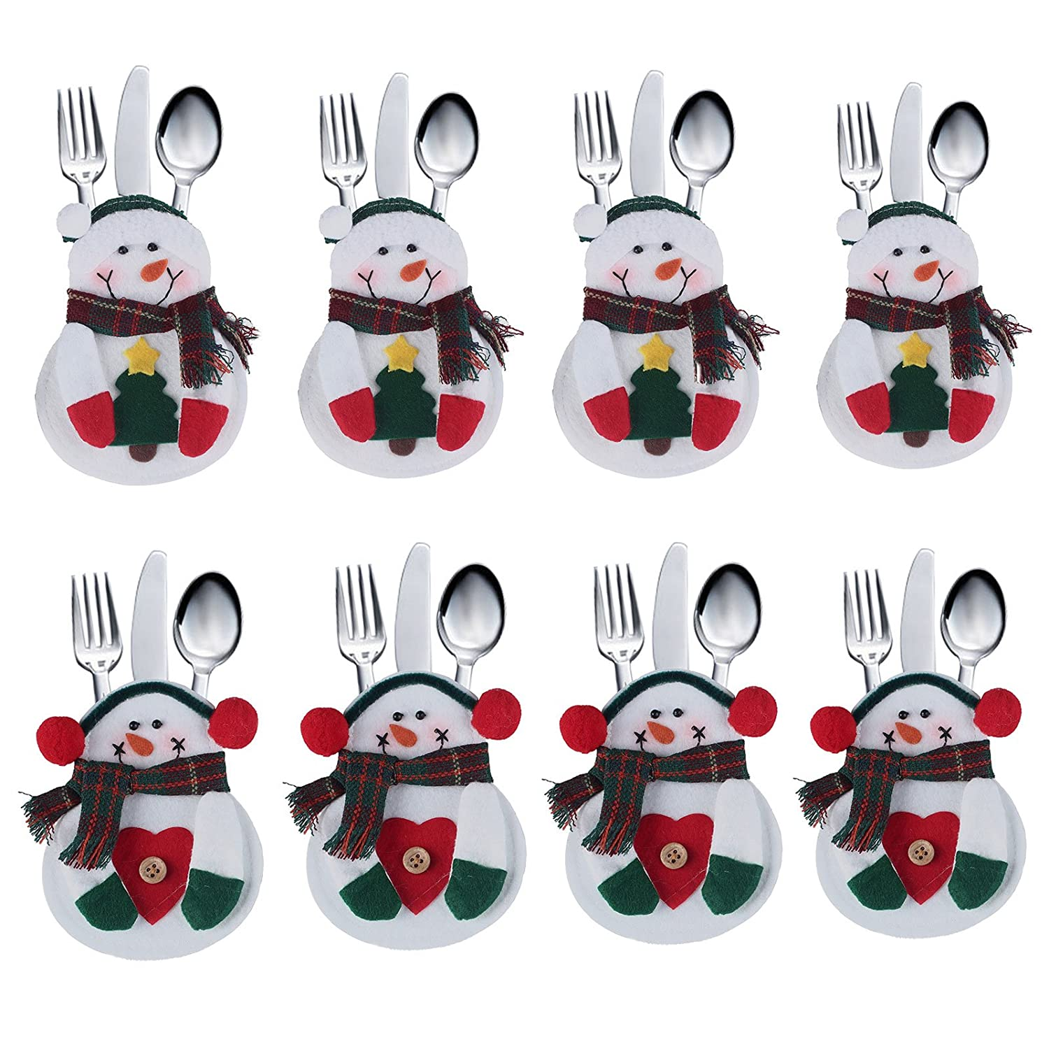 8pcs set Kitchen Cutlery Suit Silverware Holders Pockets Knifes Forks Bag Snowman Shaped Christmas Party Decoration D¨¦cor RICISUNG As Mentioned