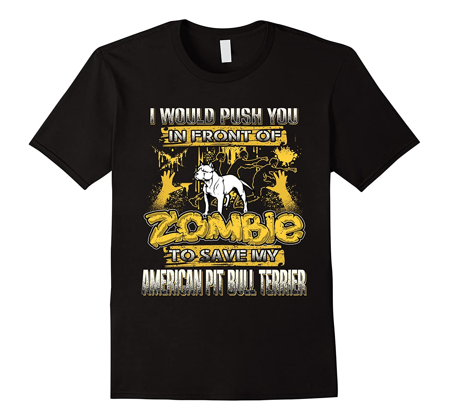 My American Pit Bull Terrier And Zombie Funny Tshirt-TH