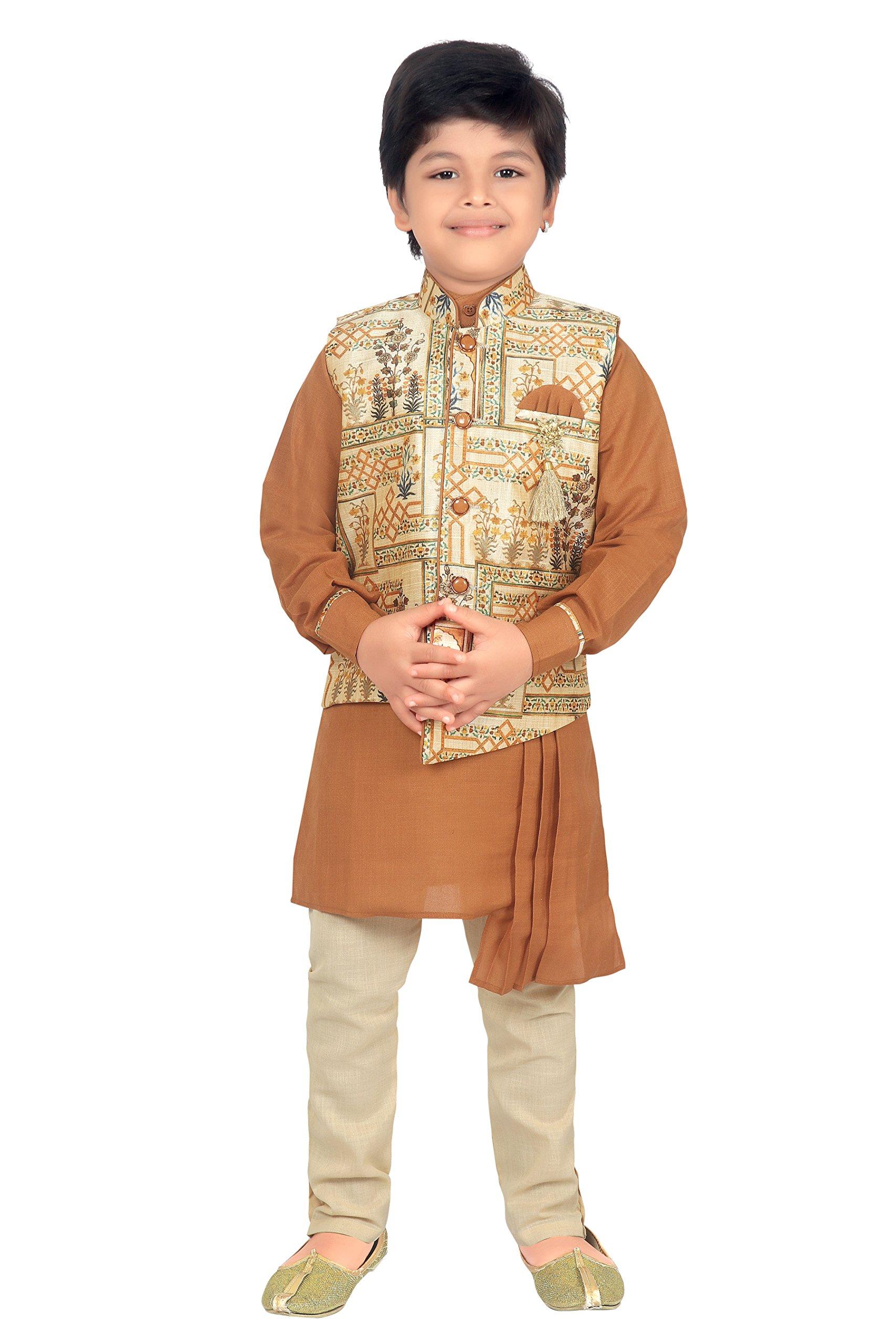 ahhaaaa Kids Indian Ethnic Collection Waistcoat Kurta and Pyjama Set for Boys_BRN420-10