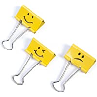 Rapesco 1354 Foldback Clips - 32mm Bright Yellow Emoji Clips (Box of 20)