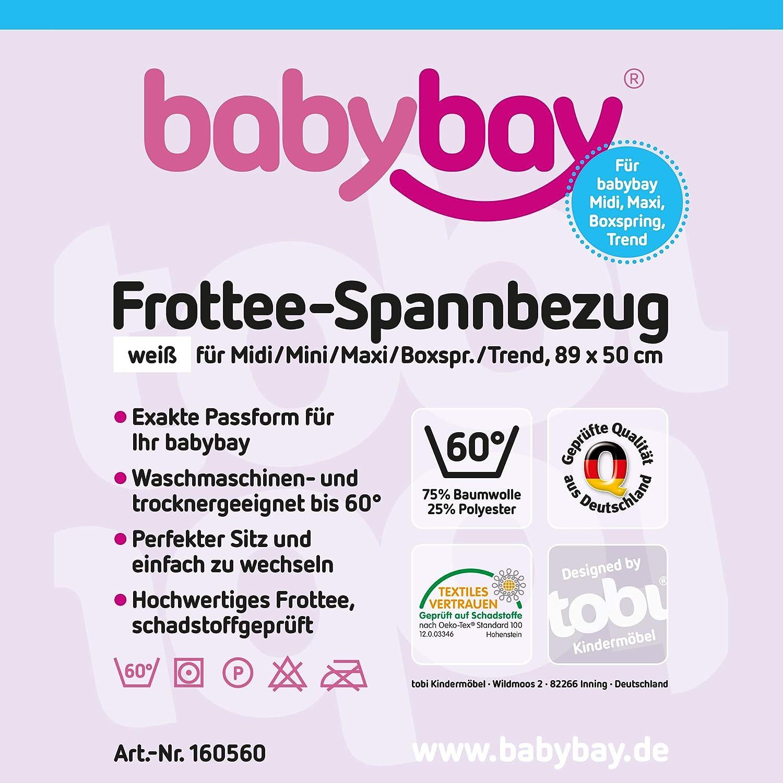 Babybay Maxi - Sábana bajera en tejido de rizo, color blanco: Amazon.es: Bebé