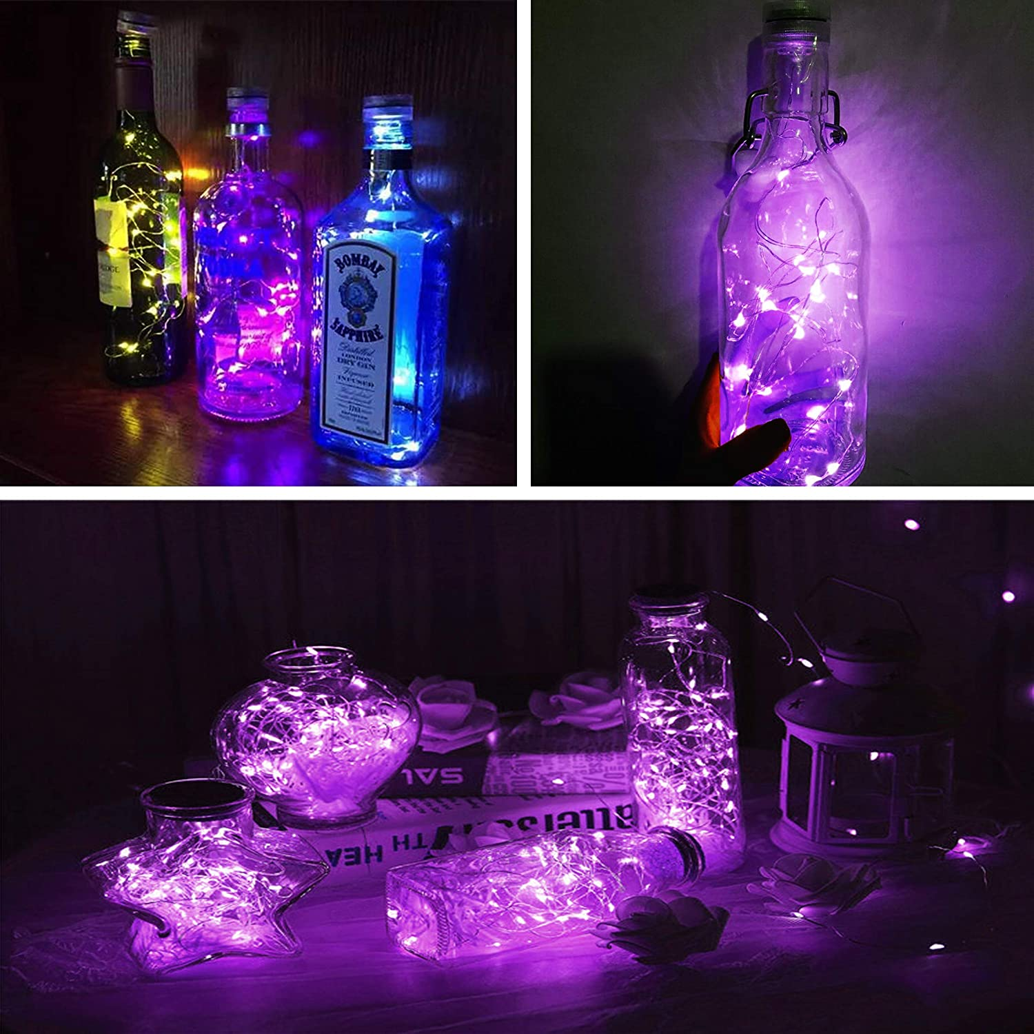 Purple LED Fairy Lights 20 LEDs Luces de alambre con botón Batería Starry Lights Fiesta de Navidad Wedding Bottle Table Decoration 8 Pack
