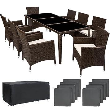 TecTake Salon de jardin en aluminium résine tressée poly rotin table | 8  fauteuils | Deux set de housses + habillage pluie inclus | -diverses ...