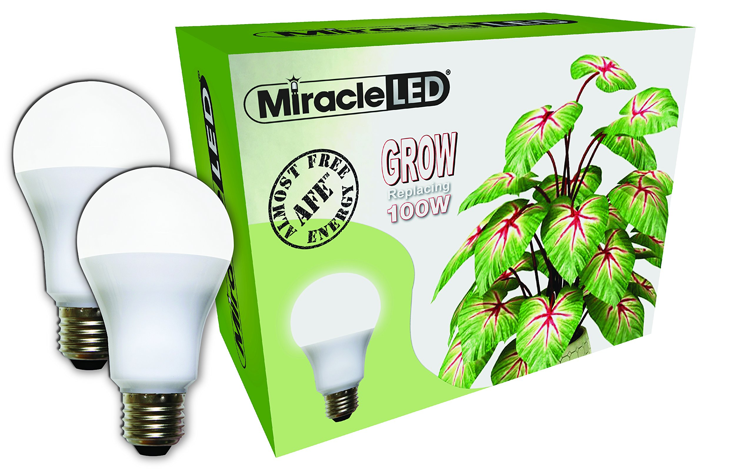 Miracle LED Almost Free Energy 100W Spectrum Grow Lite - Daylight White Full Spectrum LED Indoor Plant Growing Light Bulb for DIY Horticulture, Hydroponics, and Indoor Gardens (604301) 2Pack by Miracle LED