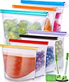 Reusable Silicone Food Bag (7 Pack) Reusable Silicone Food Storage Bag - Silicone Storage Bags Reusable Silicone Bags…