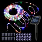 Solar Rope Lights Outdoor, 100 Led 33Ft Waterproof Rope Lights for Bedroom, 8 Modes with Memory Function, Decoration for Garden Patio Christmas Party, Multicolor