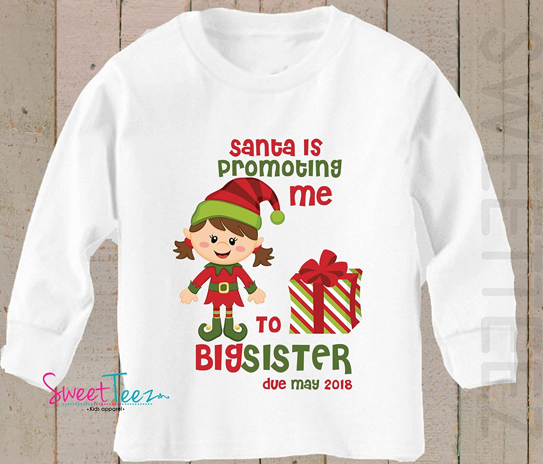 Big Sister Shirt Santa is Promoting me to Big Sister Shirt Long Sleeve Christmas Pregnancy Announcement Shirt