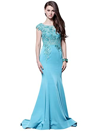 Rosfino Womens Crystal Beaded Boat Neck Trumpet Prom Dresses Mermaid Formal Gown Long with Illusion Back