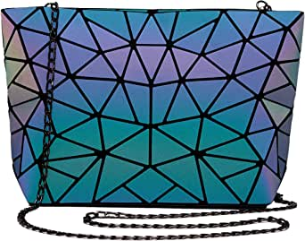 Holographic Reflective Shoulder Bags Travel College Rucksack Voyage Grande Capacit/é CCDYLQ Femmes Geometric Lattice Luminous Shoulder Bag Cross-Body