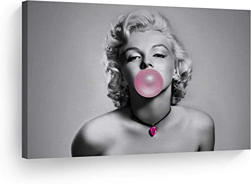 Smile Art Design Marilyn Monroe Pink Bubble Gum Black and White Canvas Print Pink Diamond Necklace Pop Art Horizontal Iconic Wall Art Marilyn Monroe Wall Decor Ready to Hang 40×30
